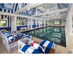 Jump into a nautical-inspired indoor swimming pool in this  Milton, MA luxury home.