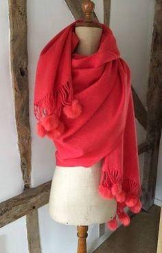 orange pom pom scarf