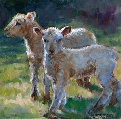 """""""Twins"""" - Original Fine Art for Sale - © Carlene Dingman Atwater Sheep Paintings, Animal Paintings, Goat Paintings, Lamb Pictures, Goat Art, Sheep Art, Sheep And Lamb, Wildlife Art, Colorful Pictures"""