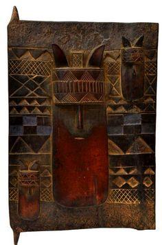 Africa | Vintage carved wood panel door.  Ivory Coast, possibly Baule people