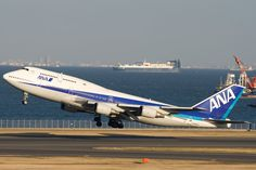 ANA All Nippon airways B747-400 Airbus A380, Boeing 747, 747 Jumbo Jet, 747 Airplane, Dark Blue, Light Blue, Flags Of The World, Airports, Jets