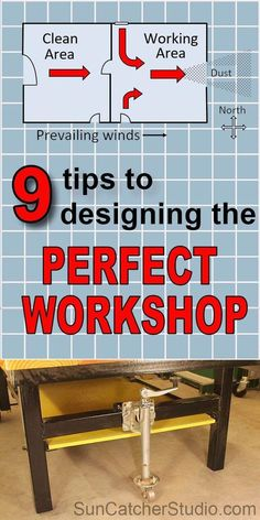 Woodworking Designs 9 Essential TIPS to designing the perfect workshop. - WORKSHOP DESIGN and LAYOUT TIPS. A perfect woodworking shop or garage needs to plan for dust collection, heating and cooling, electrical needs, and include mobile bases for tools. Woodworking Shop Layout, Learn Woodworking, Woodworking Workbench, Popular Woodworking, Woodworking Crafts, Woodworking Furniture, Woodworking Patterns, Garage Workbench, Furniture Plans