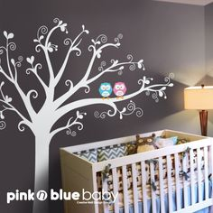NEW DESIGN Lovely tree with owls  Nursery Kids by pinknbluebaby, $108.00