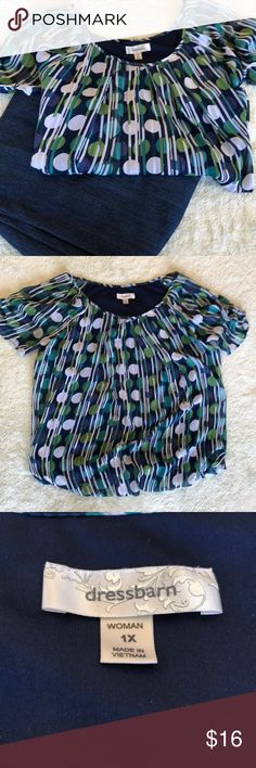 Dressbarn Top with various colors Has some silver shine to it. Has an elastic waste as shown in picture. Great for work or night on the town. Good Condition Dress Barn Tops Blouses