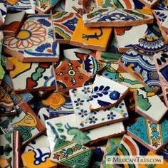 Broken Mexican Tiles you can buy by the pound...I love mosaics!!