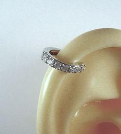 Diamante CZ canale impostato Silver Snap Post orecchino per