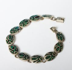 Green and Black Stone Bracelet Southwestern Taxco Mexico Vintage #vintage
