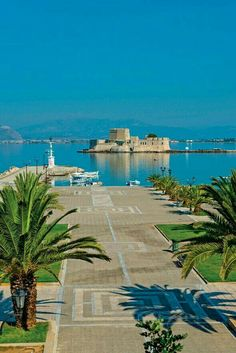Harbour of Nafplio, view of the Bourtzi castle, Greece