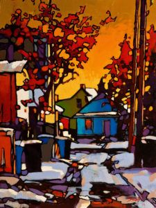Winter Warmth, by Mike Svob Abstract Landscape, Landscape Paintings, Landscapes, Guache, Canadian Artists, Beautiful Paintings, Painting Inspiration, Art Pictures, Les Oeuvres