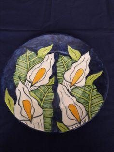 T. Ruth Mexican Talevera Ceramic Folk Art Plate Lily
