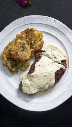 Recipe with video instructions: Steak & potatoes. and cream sauce. Ingredients: For the steak:, 2 oz) ribeye 1 inch thick, sea salt , freshly ground black pepper, Cream Sauce Recipes, Meat Recipes, Cooking Recipes, Healthy Recipes, Recipes Dinner, Dinner Ideas, Cooking Games, Grilled Steak Recipes, Brunch Ideas