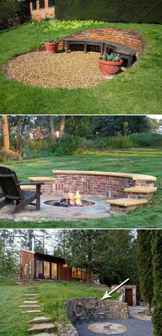 Brick/stone retaining wall with curved shape is a unique way to define a cozy outdoor seating area.
