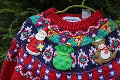 KIDS Ugly Christmas Sweater w 3D Clay Ornaments by ElvesGoneWild, $32.50