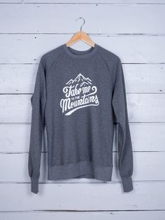 The Level Collective - Ethical Clothing Take Me To the Mountains Crew Neck Sweatshirt - $60