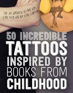 50 tatuajes increíbles inspirados en libros de la infancia