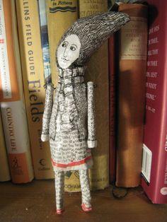 Papier Mache Art Doll by jamjarart on Etsy, $38.00