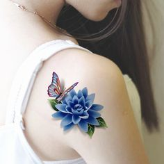 2017 New style tatoo henna fake tattoo flash tatto temporary tattoo sticker men TaTy tatuagem tattoos Butterfly Tattoos Images, Butterfly With Flowers Tattoo, Butterfly Tattoo On Shoulder, Flower Tattoo Designs, Tattoo Images, Lotus Flower, Tattoo Shoulder, 3d Flower Tattoos, Butterflies