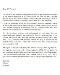 sample letter of recommendation for teacher of the year