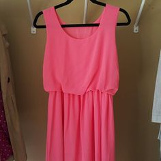 Beautiful Coral Maxi Dress This dress has only been worn once,  in excellent condition, and perfect for Easter!  The bottom of the dress is full to the knee and sheer to the ankle. Pair this with a cute pair of gold or silver accessories and it will look great! Unknown Dresses Maxi