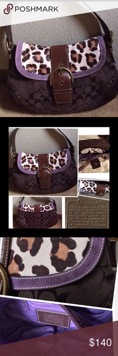 Auth. Coach Leopard Print Ocelot Rare Has wear on suede, thinning on top and can see stitching, and flap has bend.  Even with that said, gorgeous bag. Signature body, leather, suede.  Limited edition. Non-smoking home.  NEXT DAY SHIPPING! Coach Bags Shoulder Bags