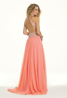Chiffon Beaded Plunge Prom Dress from Camille La Vie and Group USA