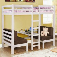 Kids bunk with play center- the bottoms of these usually fold down to form a bed for the lower bunk...either way, So cute for the kiddos!