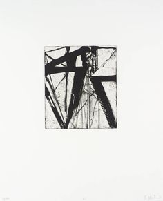 """'21' from the """"Etchings to Rexroth"""" series (1986) by American artist Brice Marden (b.1938). Etching and aquatint on paper, 202 x 175 mm. via the Tate"""