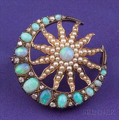 Antique Opal, Seed Pearl, and Diamond Crescent and Starburst Brooch