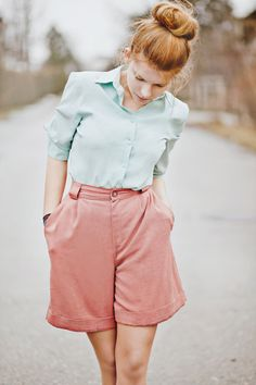 light blue + pink vintage shorts