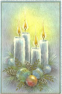 images of retro christmas cards | Vintage Christmas Card, UNUSED, Ornaments and Glowing Candles