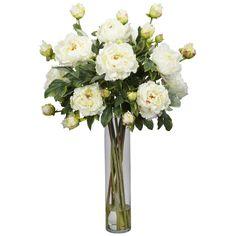 fake flower arrangements for home   home artificial florals silk arrangements peony w cylinder silk flower ...