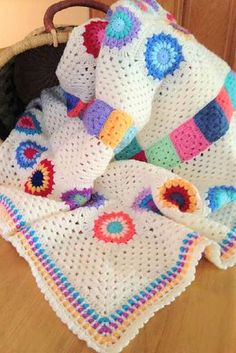 This Granny Squares And Stripes Blanket Is Great Pattern For Scrap Yarns