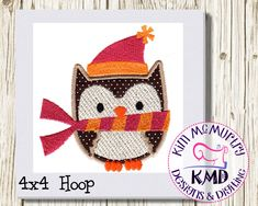 Excited to share this item from my #etsy shop: Embroidery Winter Applique Owl 1: Size 4x4, Instant Download, KMDemb Machine Embroidery Design