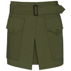 Barbara Bui Two Pocket Military Skirt (909,765 KRW) ❤ liked on Polyvore featuring skirts, mini skirts, army green skirt, barbara bui, green cotton skirt, green mini skirt and belted skirt