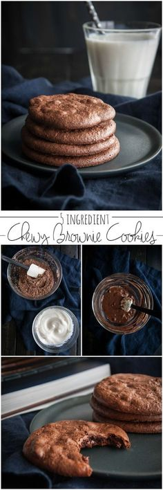 5 ingredient chewy brownie cookies -gluten free cookies- from @sweetphi cookies with egg whites