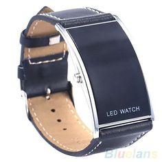 Men Arch Style LED Digital Date Faux Leather Strap Wrist Watch Wristwatch