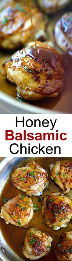 Honey Balsamic Chicken – the easiest skillet chicken with sweet and savory honey balsamic sauce. Homemade chicken dinner is so good | http://rasamalaysia.com