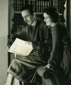 Walt and Lillian in the home library.