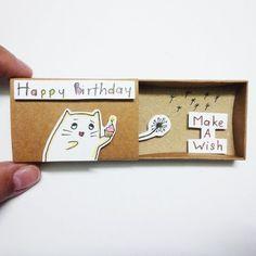 Happy birthday Card Matchbox Gretting Card Gift box by JtranJ: