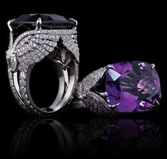 12.50 carat amethyst, diamonds and white gold ring Rings Jewellery Garrard