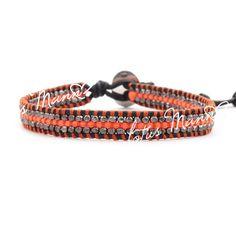 Lousmann Neon Coral Single Wrap Bracelet on Natural Black LeatherSingle wrap bracelet