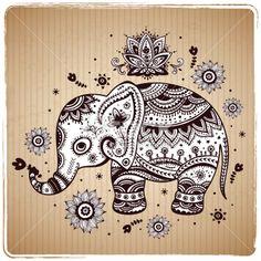 Beautiful vector ethnic elephant Royalty Free Stock Vector Art Illustration
