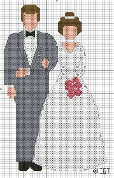 Free Bride and Groom Cross Stitch Pattern: Free Bride and Groom Color Symbol Cross Stitch Pattern Free Cross Stitch Charts, Cross Stitch Love, Beaded Cross Stitch, Crochet Cross, Cross Stitch Embroidery, Wedding Cross Stitch Patterns, Cross Stitch Designs, Cross Patterns, Groom Colours
