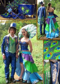 Peacock duct tape dress