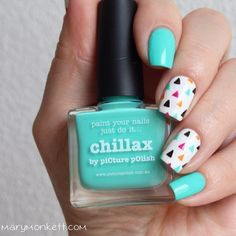 Beautiful nails 2016, Blue and white nails, Bright summer nails, Fashion nails 2016, Manicure by summer dress, Nail polish for blue dress, Nails under turquoise dress, Nails with stickers