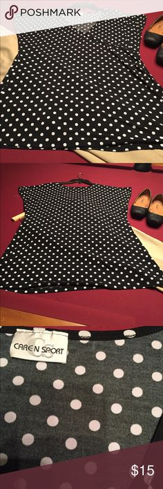 Black & White Polk a Dot Blouse Caren N Sport Black & White Polk a Dot Blouse  XL tag missing polyester. See my other listings slacks & black skirt are for sale. Mix, match bundle and save ! Caren N Sport Tops Blouses