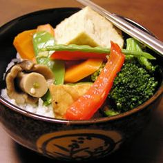 Ginger Veggie Stir-Fry - All of your favorite vegetables are in this meatless stir-fry. Add tofu or other veggies you have on hand. Veggie Dishes, Veggie Recipes, Asian Recipes, Vegetarian Recipes, Healthy Recipes, Side Dishes, Main Dishes, Asian Foods, Healthy Meals