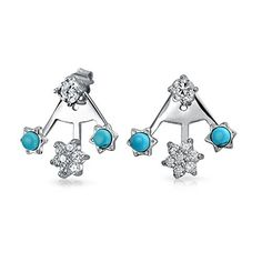 Bling Jewelry Sterling Silver Synthetic Turquoise CZ Modern Flower Ear Jackets >>> For more information, visit image link.