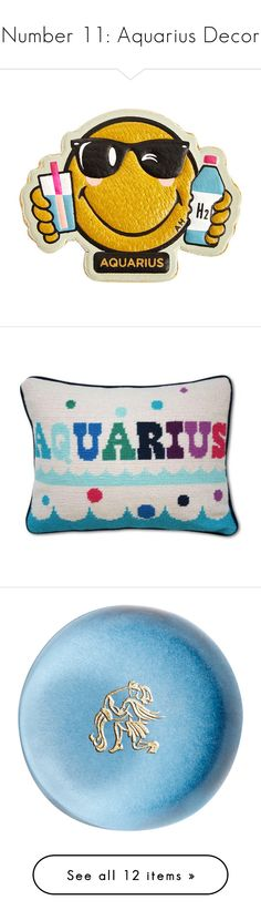 """Number 11: Aquarius Decor"" by polyvore-editorial ❤ liked on Polyvore featuring aquariusdecor, home, home decor, office accessories, multi, anya hindmarch, anya hindmarch stickers, throw pillows, pillows and jonathan adler home decor"