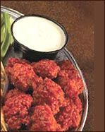 Boneless Buffalo Wings, Average. For a low carb wing, I used the HOT Bake-ens pork rinds. I crumbed them in the processor!